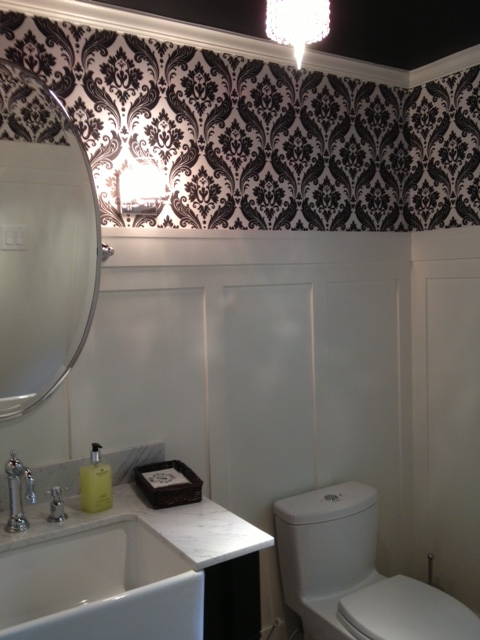 Powder Room with Black Ceiling